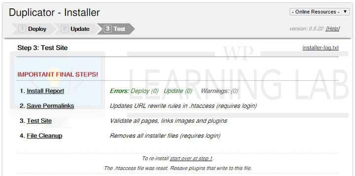 WordPress Duplicator Plugin Installer Test