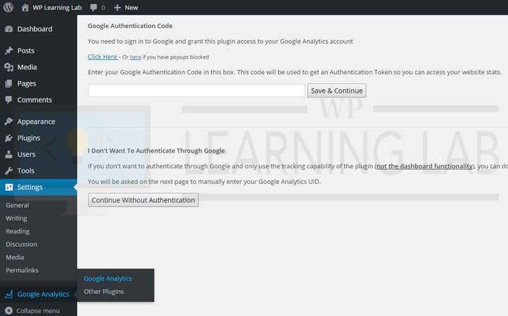 Google Analyticator - Plugin Menu